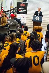 Boston Urban BASEball Classic Opening Day Ceremony 08.01.2018 (Office of Governor Baker) Tags: baseball base opening youth samkennedy redsox speech kids watching sitting floor