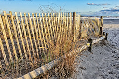 Don't Fence Me In (gabi-h) Tags: atlanticcity usa newjersey fence beach atlanticocean gabih sand water waves sky clouds fencefriday grass seagrass