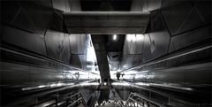 Inside (henny vogelaar) Tags: severinstrasse köln ubahn station keulen architecture concrete steel stairs escalator people light modern reflections color