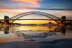 Panorama of Sydney harbour and bridge (anekphoto) Tags: sydney australia bridge harbour skyline city travel sunset district cityscape landmark sky new downtown south wales twilight dusk tourism night destination architecture panorama building urban reflection harbor bay panoramic house opera business office sea evening summer tourist lights skyscraper water landscape modern holiday outdoor famous attraction exterior financial place buildings