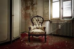 Il padrone di casa (maxmene70) Tags: room urbex decay windows light dark red carpet chair canon