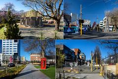 Postcard from Christchurch (Jocey K) Tags: newzealand nikond750 christchurch architecture buildings collage postcard phonebox trees cbd sculpture artwork street sky