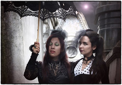 Ladies in Black III (qmontesano) Tags: f photo art funeraryart fantasy cementerio cemetery recoleta fotografíasintervenidas damasdenegro damasdeluto blackwoman ladiesinblack photoshop fuji s9100especialedition