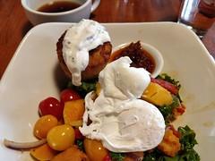 Healthy Hash at Elements (Ruth and Dave) Tags: elements restaurant tapasbar whistler whistlervillage whistlerblackcomb breakfast brunch healthyhash hash poachedegg dish vegetables potatotartlet