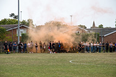 Lutterworth Town (nonleaguepap) Tags: lutterworth town heanor derbyshire leicestershire fa cup extra preliminary round black orange shirts shorts boots players non league football united counties total midland white lines green grass purple trees saturday sports august 2018 pyro england