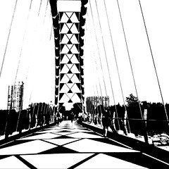 Shadows (mrsparr) Tags: humberbayarchbridge toronto ontario canada blackandwhitephotos compositionallychallenged bridge people lines monochrome shadows summer sky theflickrlounge weeklytheme