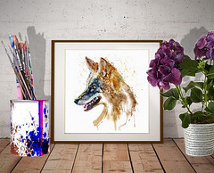 Coyote Head (marianv2014) Tags: coyote coyotes head heads watercolor watercolorpainting watercolorportrait sideface profile animal animals animalart animalpainting animaldecor animalposter wallart walldecor wildlife splashes splatters drippingpaint roomdecor artdecor wildanimals americananimals artgifts affordableart beautiful blue brown mammals carnivores creatures illustration artwork art whitebackground contemporary zoology single decor cute