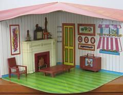 Fold-A-Magic Doll House Living Room (hmdavid) Tags: foldamagic norstar folding dollhouse cardboard portable 1960s hongkong mod toy doll vintage livingroom