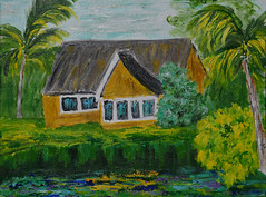 House on the River - by Kim (BKHagar *Kim*) Tags: bkhagar art artwork painting paint acrylic house water river artday