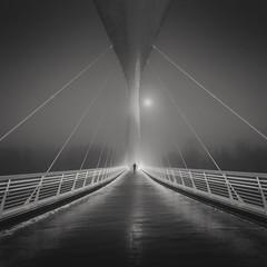 Isoisänsillalla III (Vesa Pihanurmi) Tags: people character bridge helsinki foggy architecture road blackandwhite monochrome street metaphysical metaphysics figure streetmetaphysics