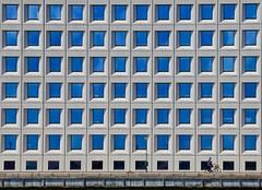 The Little Cyclist (Alex L'aventurier,) Tags: copenhague danemark copenhagen denmark building architecture bleu blue fenêtres windows urban urbain city ville facade cycliste candid cyclist bike vélo bicycle squares carrés scandinavie scandinavia