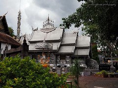 Fine art work, the first silver temple of the world, Chiang Mai, in rainy day. (natureflower) Tags: art work silver temple chiangmai thailand srisuphan captureintherain