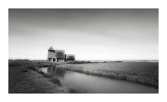 Little Church (GlennDriver) Tags: black white bw blackandwhite mono long exposure church water marsh grass sky canon eos reflection lanscape monochrome nd photo border landscape