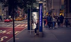 New York (KennardP) Tags: manhattan newyork nyc newyorkcity citylights cityatnight nightlights canon5dmarkiv 5dmarkiv canon sigma sigma50mmf14dghsmart 50mmf14dghsmart sigmaartlens nightphotography hanheld handheldnightphotography people city taxi cars buildings officebuildings stores shopping busstop yellowcabnewyork yellowcab