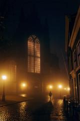 Hooglandse Kerk (Mathijs Buijs) Tags: leiden night mist church hooglandse kerk gracht sodium light silhouette south holland netherlands western europe canon eos 7d