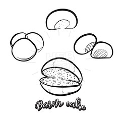 Hand drawn sketch of Barm cake bread (Hebstreits) Tags: argument art bacon baked bakery barm barmcake black bottom bred chip cooked cute delicious design drawing england flattish food hand healthy icon illustration ingredients lancashire line made map muffin outline oven pasty pea pen pie regional roll round sketch slice vector warburton yeastbread