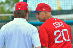 Tony LaRussa and Alex Cora (forestforthetress) Tags: baseball alexcora boston bostonredsox redsox manaager tonylarussa color outdoor omot nikon