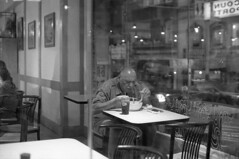 . (m_travels) Tags: candid man cafe restaurant everyday street kodaktmax3200 nightphotography blackandwhite плёнка film 35mmfilm grain dark style analog argentique peopleofsanfrancisco