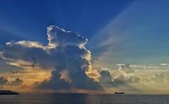 Far Away (Giannisv66) Tags: sunrise clouds cloud sky naturephotography nature sea water ship leaving