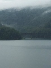 randolph lake 6 (GAWV) Tags: lake fog mountains randolph jennings clouds water railroad island trees rain bridge wv mineral vacation watershed waves ripples rocks