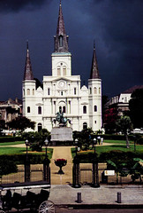 Storm Approaching (Bill in DC) Tags: nola la louisiana neworleans 1988 film 35mm kodacolor canoneosa2 jacksonsquare cathedralbasilicaofstlouis frenchquaeter
