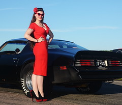 Holly_9193 (Fast an' Bulbous) Tags: girl woman car vehicle pinup model red dress wiggle high heels stockings nylons brunette hair pontiac transam muscle american people outdoor