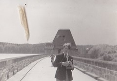 Christopher Leach at the Mohne Dam Germany 195 (Bury Gardener) Tags: bw blackandwhite oldies old snaps scans europe 1950s 1956 germany german