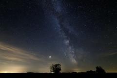 Milky Way - landscape version with a meteor (gyorigabor) Tags: milkyway astrophotography starrynight hungary landscape stars hortobagy nighttime nightphotography d750 nikon nikond750 meteor perseidas