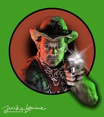 DSC_6082S (mikeyasp) Tags: portrait headshoulders pose cowboy western sixshooters gunslinger gunfighter cowboyhat smoke smokinggun flash colors gels coloredgels layers photoshop