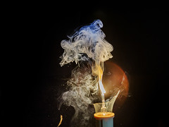 Bulb Explosion 4/5 (Ali Majdfar) Tags: lamp closeup smoke burning burst light blast triger splash