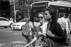 Sydney street 2014  #356 (lynnb's snaps) Tags: 2014 35mm f80 hp5 sydney xtol bw city film people street nikonf80 ilfordhp5 kodakxtoldeveloper australia girls eyecontact nikkor50mmf18afd