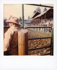 Rodeo Cowboy (tobysx70) Tags: polaroid originals color 600 instant film slr680 rodeo cowboy high country stampede county road 73 fraser colorado co portrait man profile candid hat crowd grandstand gate polaradoone polarado 072118 toby hancock photography