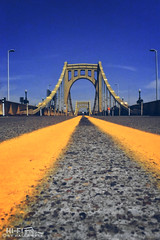 Clemente Bridge Deck (Hi-Fi Fotos) Tags: road pavement lines sixth street roberto clemente bridge pittsburgh pennsylvania yellow asphalt blacktop city urban nikkor 20mm nikon d7200 dx hififotos hallewell