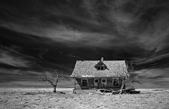 the Ebenhof House - Infrared (eDDie_TK) Tags: colorado co washingtoncountyco washingtoncounty lastchancecolorado abandoned coloradoseasternplains infrared ir blackandwhite bw