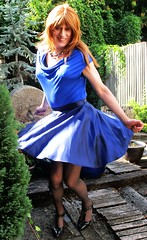 Blue Theme (Amber :-)) Tags: navy satin skater skirt tgirl transvestite crossdressing