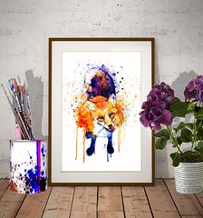 Cute Happy Fox (marianv2014) Tags: cute happy fox foxes orange blue spatters splashes drippingpaint watercolor painting watercolour aquarelle animals animalart animalposter foxdecor walldecor wildlife lookingup mammals beautiful affordableart artgifts whitebackground wallart canidae furry tail foxy vixen vixens darkblue wildanimals carnivores predators fineart watercolorposter artwork art zoology single decor