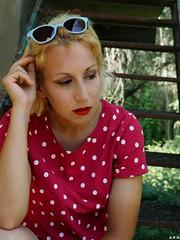 Sunglasses. (KurenaiSutcliff) Tags: model sensual makeup blonde blondegirl girl sexy red redlips pin up pinup lady photoset photoshoot glasses lovely lovelygirl polka dot dotty blondehair elegant 50style 50stylehair woman shorthair short hair redpolkadots redpolka redshirt sunglasses