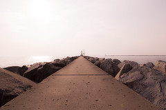 Mich2018-06 (stevef325) Tags: approved michigan westmichigan muskegon muskegonmichigan pier lakemichigan rocks cement walkway evening lines horizon