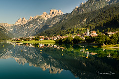Lago di Auronzo (Ellen van den Doel) Tags: 2018 meer church water italie city outdoor dolomieten holiday tree unesco morning summer auronzo reflectie kerk travel forest reflection dorp lake lago dolomites village italy mountain auronzodicadore veneto italië it portfolio1