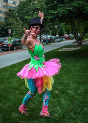 Colorful Dancer (ep_jhu) Tags: grass dancing x100f washington focusonthestory dancer costume fujifilm hat pride colorful butterfly sunglasses woman fuji girl heart dupontcircle tophat dcist dc districtofcolumbia unitedstates us