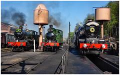 Bewdley station trio. (Rob-33) Tags: svr severnvalleyrailway steamlocomotive 1450 7802 6023 bradleymanor kingedwardii pentaxkx bewdleystation uksteam