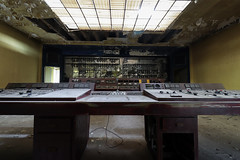 Controlroom S (Hooismans) Tags: abandoned abandon abandonné abandonnée abbandonato abbandonata ancien ancienne alone architecture explorationurbaine exploration explore exploring empty explo explored distillery trespassing rust rusty ruins rotten urbex urban urbain urbaine urbanexploration interdit interior inside inexplore old past photography decay decaying derelict dust decayed dusty forgotten forbidden lost light nobody neglected building verlassen creepy huge industrial factory ceiling people arch road sign tree sky power plant powerplant 70kv belgium control room controlroom controlpanel verlaten verlatengebouw urbexbe grass