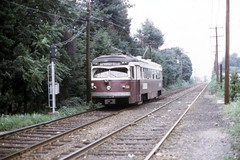 US PA Philadelphia SEPTA-PSTC Red Arrow 11 8-1974 (David Pirmann) Tags: pa pennsylvania philadelphia septa redarrow pstc philadelphiasuburbantransco interurban train trolley tram transit railroad