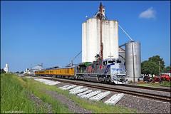 UP 1943 (Justin Hardecopf) Tags: up unionpacific 1943 emd sd70ah sd70ace veterans spirit heritage business passenger special grain elevator northbend nebraska railroad train