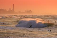 Surfing at Sunset - Tel-Aviv beach - Follow me on Instagram:  @lior_leibler22 (Lior. L) Tags: surfingatsunsettelavivbeach surfing sunset telaviv beach sea seascapes surfers waves roughsea skyline city telavivbeach israel