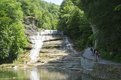 Buttermilk Falls Gorge Trail (pecooper98362) Tags: ithaca newyork buttermilkfallsstatepark buttermilkfalls buttermilkcreek buttermilkcreekgorge ithacaisgorgeous summer lowerfalls waterfall unusuallyhighflow whitefroth gorgetrail hikers