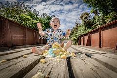 Cake........Smash! ! ! ! (Manannan Photographics) Tags: 1st birthday cake smash 1dxii iron bridge railway clouds hdr ocf profoto b1 babys first happy boy canon camera