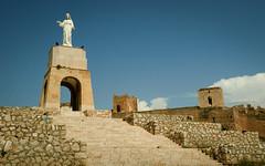 The statue of San Cristóbal, Almeria, Spain (mpszczolam) Tags: almeria castle spain alcazaba the statue san cristóbal jayrán walls ruins