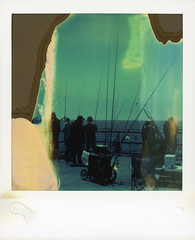 Gone Fishin' (tobysx70) Tags: polaroid sx70 timezero time zero tz expired instant film 0404 gone fishin' fishermans wharf municipal pier redondo beach los angeles la county california ca fishing rod pole line fisherman angler endless 052818 memorial day polawalk toby hancock photography