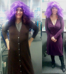 20171217 1512 - shopping at the thrift store - Clio & Carolyn - trying on purple wig - diptych - 27l11414R1 (Clio CJS) Tags: 20171217 201712 2017 virginia annandale store goodwill shopping tryingonwig tryingon wig chainmailnecklace necklace chainmail standing purplewig diptych clio carolyn